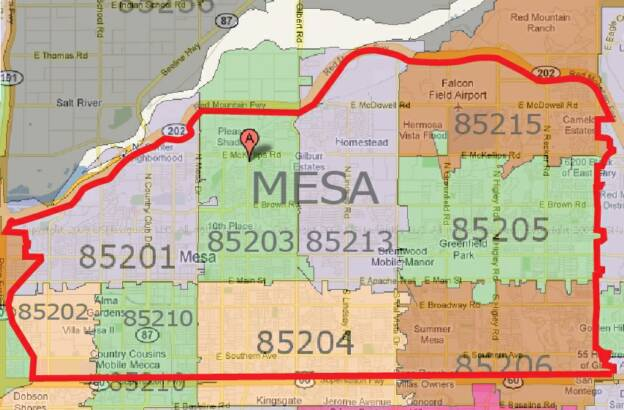 Mesa Az Zip Code Map | My blog